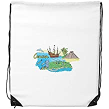 City Cancun Mexico Island Mayan Temple Watercolor Drawstring Backpack Shopping Gift Sports Bags