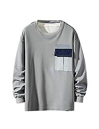 Minikoad_Men Coat Men O-Neck T-Shirt Blouse Tops, Male Solid Long Sleeve Patchwork Casual Tee Shirt Tunic Tops Sweatshirt