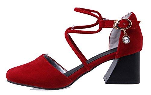 lanière croisée pour avec à suède talons chunky fausse Sandales rouge mi Aisun femmes a1qvBwx