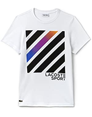 Lacoste Men's Sport Men's White Printed Crew Neck T-Shirt in Size 3-S White