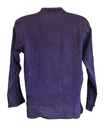 Yak & Yeti Men's Kurta Stone Washed Lightweight Cotton Embroidered Mandarin Style Collar (Medium, Purple Lace up) by Yak & Yeti (Image #2)