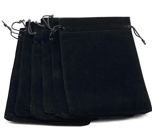 "6pcs 7"" X 5"" Black Velvet Cloth Jewelry Pouches / Drawstring Bags"
