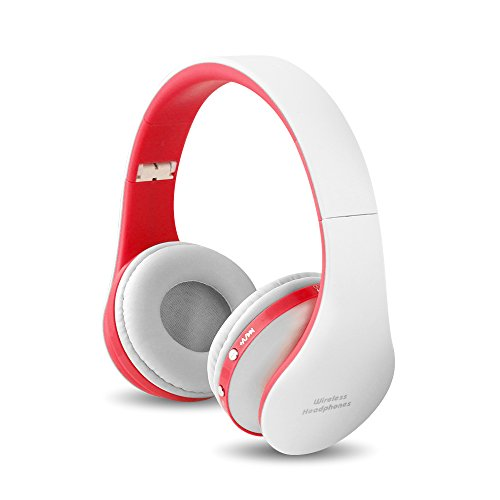 FX-Viktaria Dual Mode Wireless Headset, On Ear Headphone Foldable,Stereo Headset Lightweight Design, Soft, Compatible with iPods, iPhones, iPads, Smartphones, Tablets, PC and Laptops- Red and White