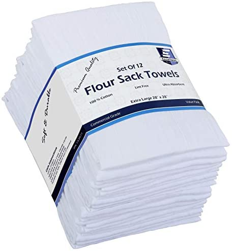 Flour Sack Kitchen Towels (White,12 Pack) 100% Cotton,28×28 Inch Cloth Napkin, Bread wrapper, Cheesecloth, Multi Purpose Kitchen Dish Towels,Bar Towels, Extremely Absorbent & Sturdy By Excellent Deals