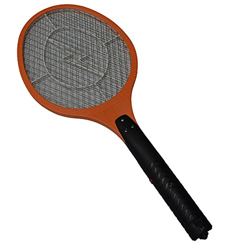 VONKKA 3 Layers Net Dry Cell Hand Racket Electric Swatter Home Garden Pest Control Insect Bug Bat Wasp Zapper Fly Mosquito Killer (Dark Orange)
