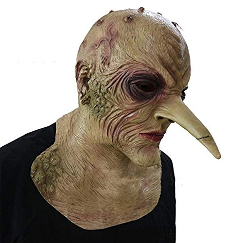 Witch Mask, CX shouzuo Halloween Costume Party Prop The Grand High Witch Nose Ghoul Scary Latex Fancy Dress Demon Long Pointed Nose Monster Mask]()
