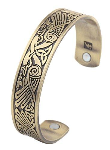 (Celtic Knot Viking Crow Bracelet Norse Magnetic Stainless Steel Cuff Bangle Bracelet for Men (antique)