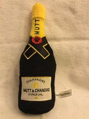 Dog Diggin Designs Libation Station - Squeaky Plush Dog Toys For Those Party Hard Pups! (Mutt & Chandog Champagne)