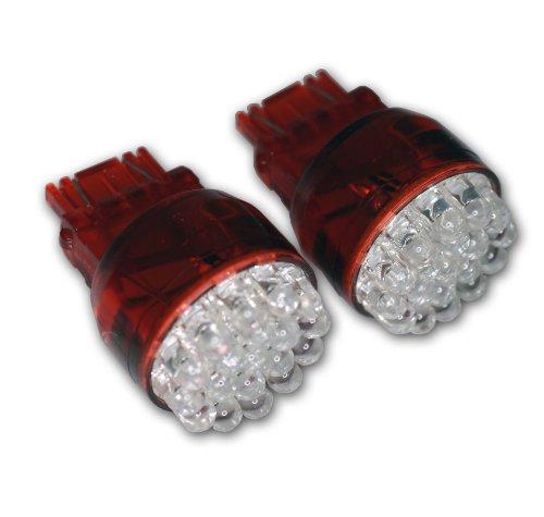 TuningPros LEDTL-3157-R19 Tail Light LED Light Bulbs 3157, 19 LED Red 2-pc Set