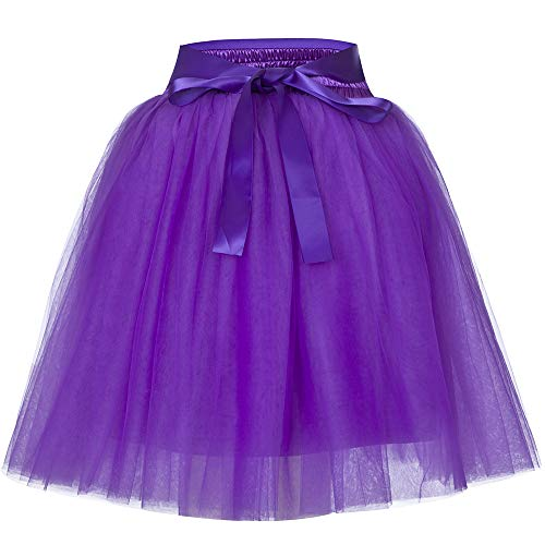 Women's High Waist Princess Tulle Skirt Adult Dance Petticoat A-line Wedding Party Tutu Purple