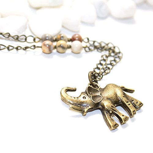 Elephant Necklace with Natural Stone Beads - Unique Handmade Agate Spiritual Healing Jewelry - Made in Phoenix, AZ