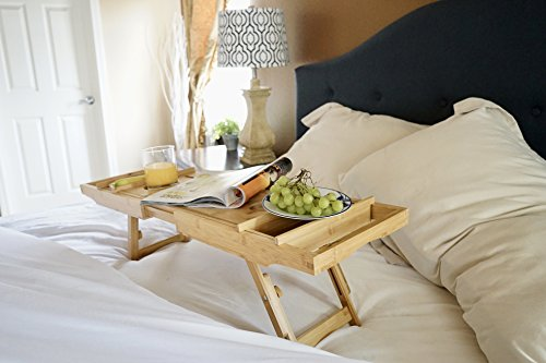Bed Table & Bathtub Tray -- Combines bamboo bath tub caddy for relaxation and bed tray for productivity into 1 -- Luxurious bathtub caddy for bath accessories wine glass book iPad phone and laptop by Sugarwood Home (Image #8)