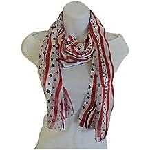 Ladies Wavy Stars and Stripes White Scarf