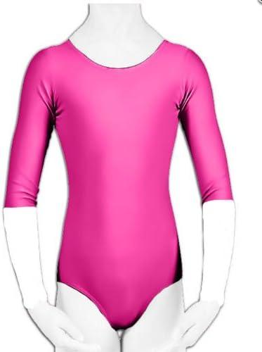 Filles Rose Lycra 3//4 Volants Manches Justaucorps Danse Gymnastique espagnol flemenco New