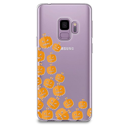 CasesByLorraine Samsung S9 Case, Halloween Cute Pumpkins Clear Transparent Case Flexible TPU Soft Gel Protective Cover for Samsung Galaxy S9 (P111)