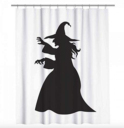 Witch Shower Curtain - Halloween Decoration - Creepy Witch Silhouette 66 x 72 ()