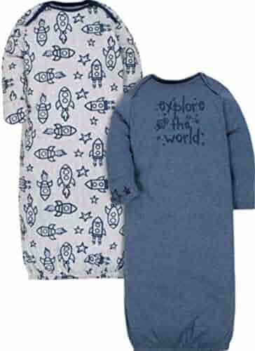 b861aae04 Gerber Organic Cotton Rib Baby Boy Lap Shoulder Gowns, 2-Pack, 0-
