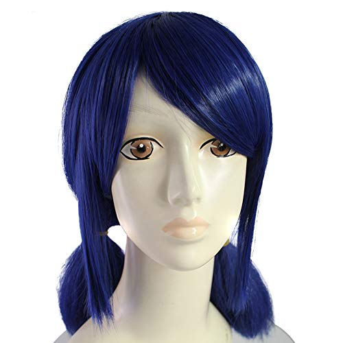 Anogol Hair Cap+Double Ponytails Blue Synthetic Cosplay Wig With Bangs Long Straight Wigs For Fancy Dress