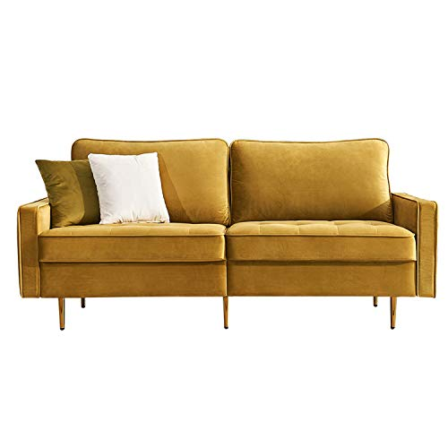 Mid Century Couch Sofa with Upholstered Velvet Fabric and Metal Legs,Modern Luxury Loveseat 2 Wide Seat,Sectional Chaise Lounge Furniture for Living Room,Office,Apartment,Home-71 inch (Yellow)