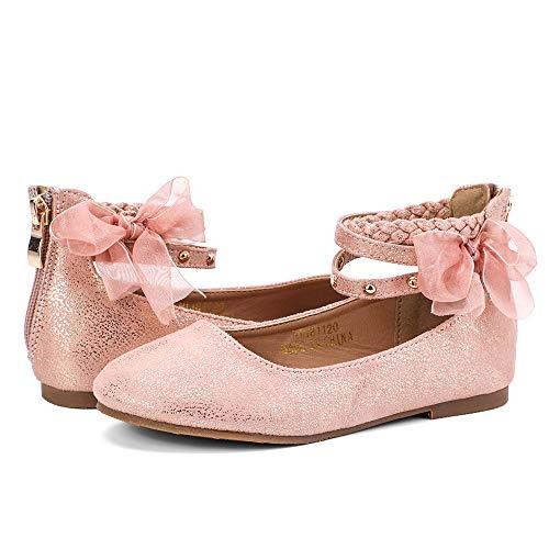 (nerteo Girl's Princess Dress Shoes Ankle Strap Glitter Ballet Flats (Little/Big Kid) Pink 1 M US Little)