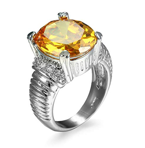 (14k Silver 3ct Large Yellow Cubic Zirconia Created Canary Engagement Rings for Women,Size 6)