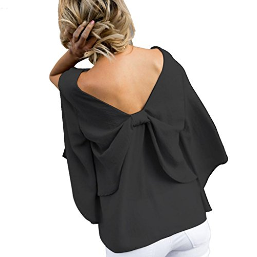 Italian Fruit Charm (Women Blouse Hot Clearance! Daoroka Chiffon V-Neck Long Butterfly Sleeve Back Bowknot T Shirts Loose Solid Tops)