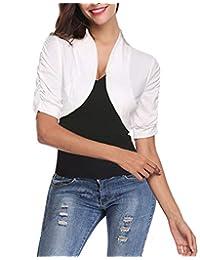 modase Womens Shrug Cropped Bolero 3/4 Sleeve Cotton Cardigan Bolero Jacket