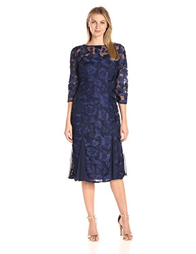 Alex Evenings Women's Tea Length Embroidered Dress with Illusion Sleeves, Navy, 14 (Blue Dress Illusion)