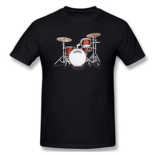 WENSON Men Gretsch-Drums-Gretsch-Catalina-Club-Jazz-percussio-Drumset Classic T Shirt Black 4XL with Short Sleeve