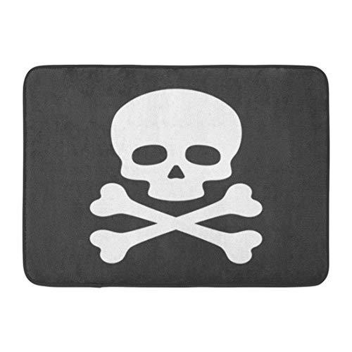 Emvency Doormats Bath Rugs Outdoor/Indoor Door Mat Poison Skull Crossbones on Simple Pirate Danger Death Silhouette Bathroom Decor Rug Bath Mat 16