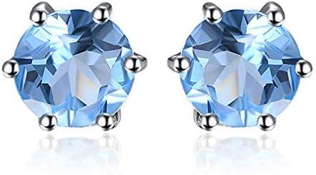 N/N® Ohrringe Für Frauen Amethyst Granat Peridot Topaz Ohrstecker 925 Silber Ohrring Für Mädchen Anti-Allergie Schmuck