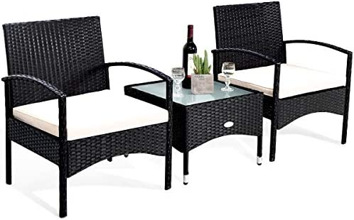 Tangkula 3 PCS Patio Wicker Rattan Furniture Set
