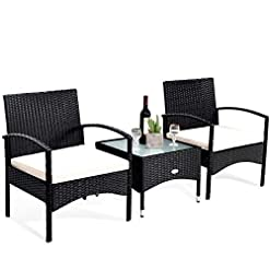 Garden and Outdoor Tangkula 3 PCS Patio Wicker Rattan Furniture Set, Rattan Chair with Coffee Table, High Load Bearing Chair Conversation…