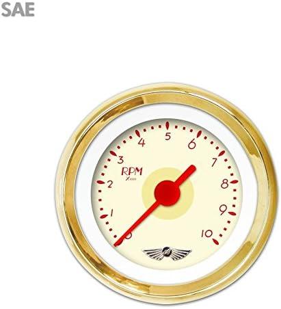 Red Vintage Needles, Gold Trim Rings, Style Kit DIY Install Aurora Instruments 4272 Deco XT Tan Tachometer Gauge with Emblem