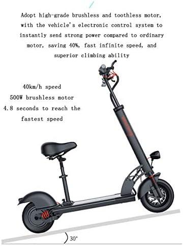 Adobe abs Trottinette Électrique, 500w Pliable Scooter Électrique Adulte Alliage D'aluminium Charge Maxi 40km/h Batterie Au Lithium Rechargeable 48v 36v avec Lumière Et Affichage À LED