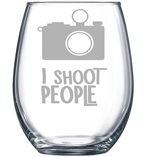 I Shoot People Stemless Wine Glass , 15 oz. (People Glass)