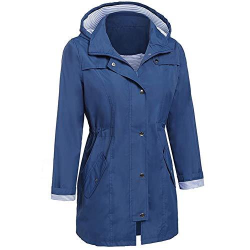 Cappotto Con Outdoor Size Impermeabile Invernale Scuro Antipioggia Tasca M Lungo Da Girl Xxl Plus Blu Solido Hpklsder Abbigliamento Blue Dark Felpa Cappuccio Donna Giacca Cdxvd7