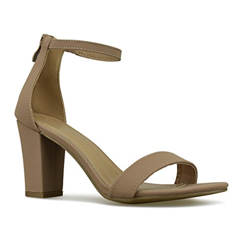 Premier Standard Women's Strappy Chunky Block High Heel - Formal, Wedding, Party Simple Classic Pump, TPS Heels-Ha1 Tan Size 7