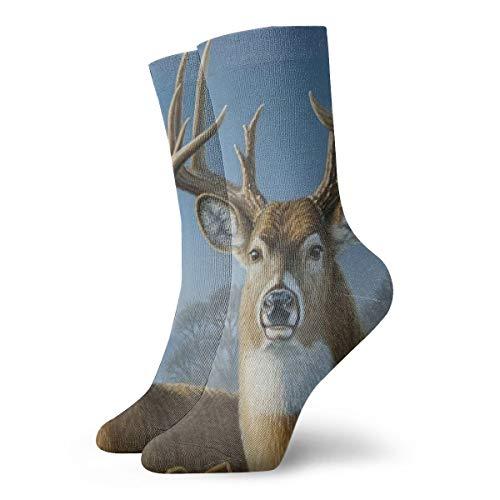 Whitetail Deer Painting Personalized Socks Sport Athletic Stockings 30CM Sock for Men Women