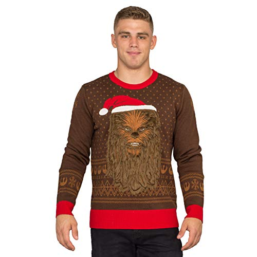 Star Wars Chewbacca Furry Face with Santa Hat Adult Ugly Christmas Sweater