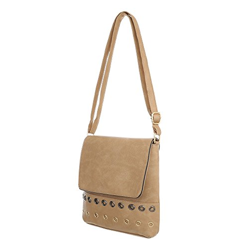 Damen Tasche Handtasche Used Optik Umhängetasche Schultertaschen Umhängetasche Shopper Tasche Henkeltasche Beuteltasche Apricot