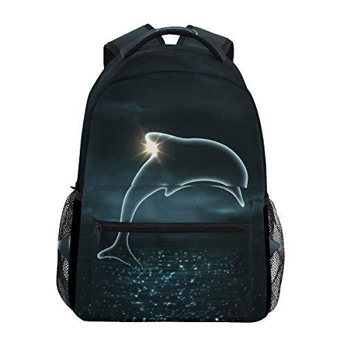 Moonlight Dolphin Shoulder Backpack Student Bookbags for Travel Kid Girls Boys (Moonlight Dolphin)