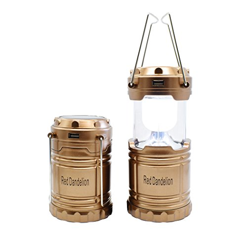 Solar Rechargeable Lantern Red Dandelion Charging for Mobile Outages Multifunction Hiking Camping