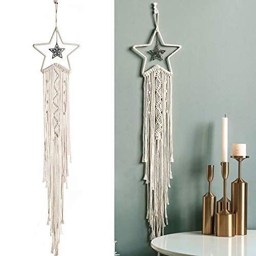 QAZSE Star Shape Dream Catcher Cotton Rope Handmade Woven Tassel Small Macrame Wall Hanging Home Decoration White
