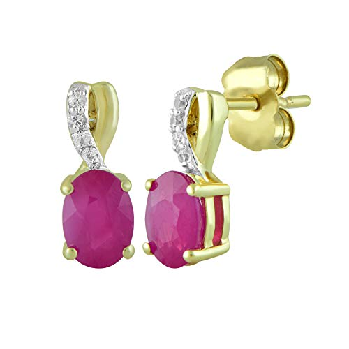 Jewelili 10kt Yellow Gold 6x4mm Oval Burmese Ruby and Round Genuine White Sapphire Fashion Earrings