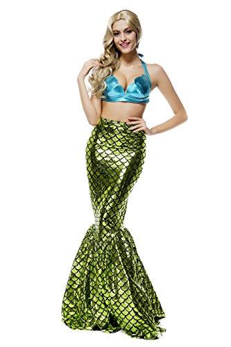 Vestido brillante de sirena para mujer, 2 piezas, para noche de fiesta, fiestas de disfraces o Halloween Verde