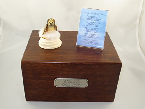 - Beautiful Paulownia Large Wooden Urn with Briard Stairway to Heaven Figurine with Poem & Personalized Pewter Engraving