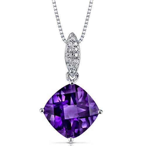 (14 Karat White Gold Cushion Cut 3.00 carats Amethyst Diamond Pendant)