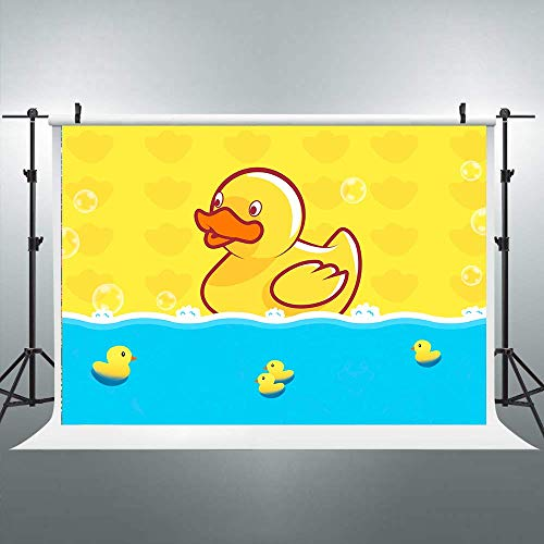 Cartoon Baby Duck Backdrop Cute Little Ducky Water Photography Background Cartoon Yellow and Blue 7x5ft Decoration Celebration Props Party Photo Shoot Backdrop Blush Vinyl Cloth 40