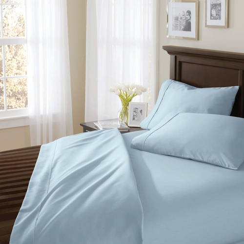 Better Homes and Gardens.. 400 Thread Count Solid Egyptian Cotton True Grip Bedding Sheet Set (QUEEN, Blue) from Better Homes and Gardens..